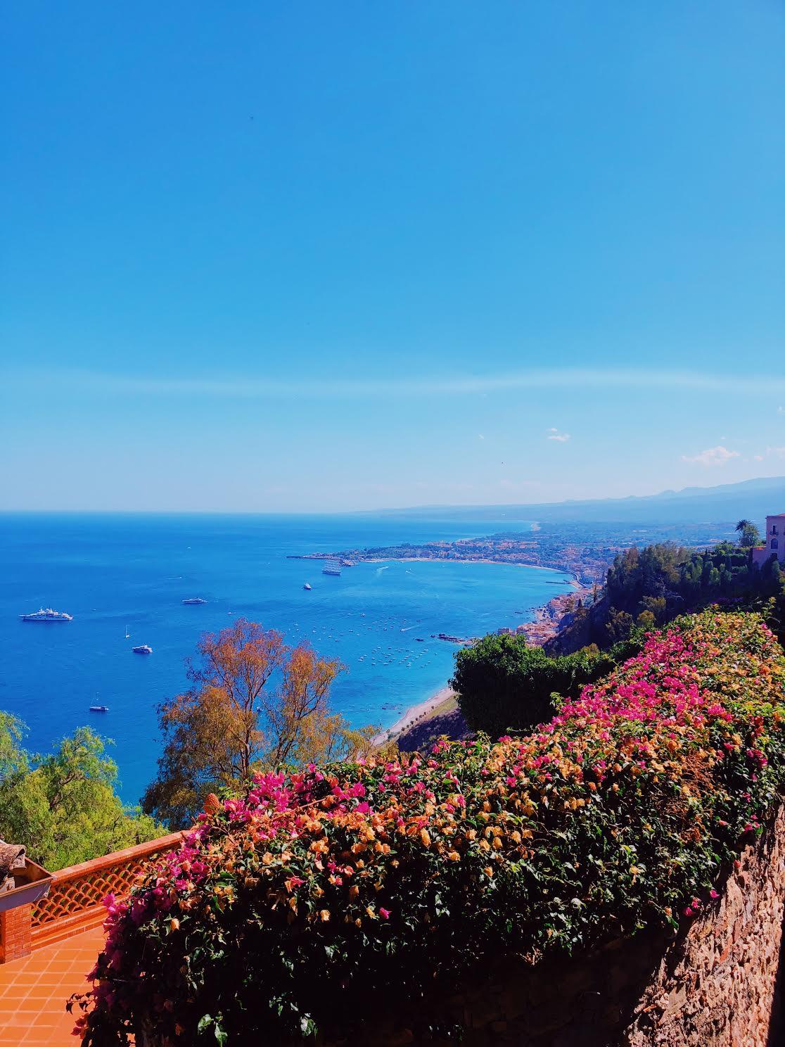 Beach area in Taormina