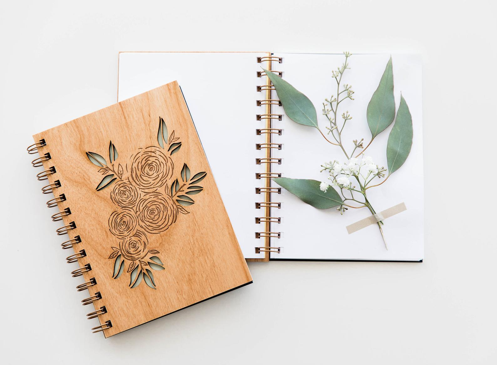 laser cut wood journal mother's day gift